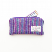 Purple striped HARRIS TWEED padded pouch, pencil case, charger pouch