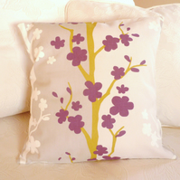 SALE: modern cushion, 16 x 16, aubergine and mustard