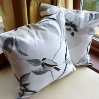 SALE: Pair of cushion covers, black and grey with birds, 16 x 16""