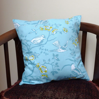 SALE: modern cushion, 16 x 16, blue and mustard
