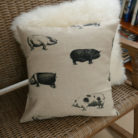 SALE: Linen pig pillow cover, 16 x 16