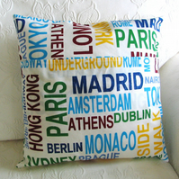 SALE: City cushion, statement cushion, 16 x 16