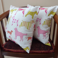 SALE: Pair of cushion covers, dog cushion, 16 x 16""