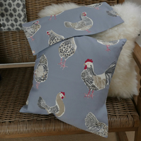 SALE: Pair of cushion covers, chickens and hens, 16 x 16""