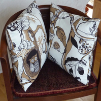 SALE: Pair of cushion covers, British wildlife, 16 x 16""