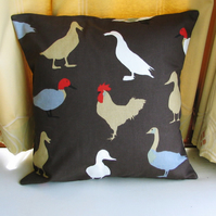 SALE: chicken cushion, 16 x 16, brown cushion