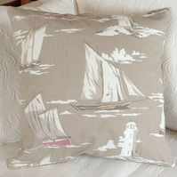 SALE: nautical cushion, sailing ship cushion cover, 16 x 16