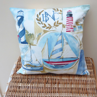 SALE: nautical cushion, sailing ship cushion cover, 16 x 16, lighthouse cushion
