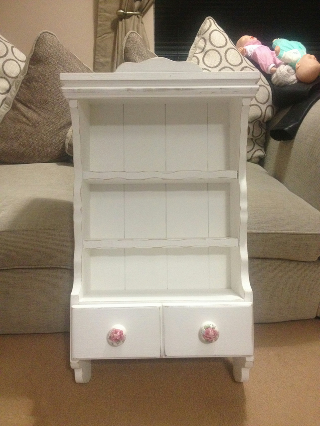 Distressed Shabby Chic Wall Unit With Decoupage Folksy