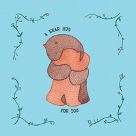 A Bear Hug- Square Card