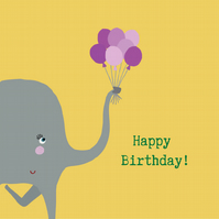 Birthday Elephant- Square Card