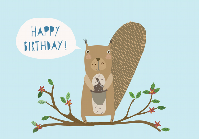 'Birthday Squirrel' A6 card