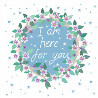 'I am here' -square card