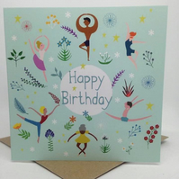 'Birthday Dancers' Square Card