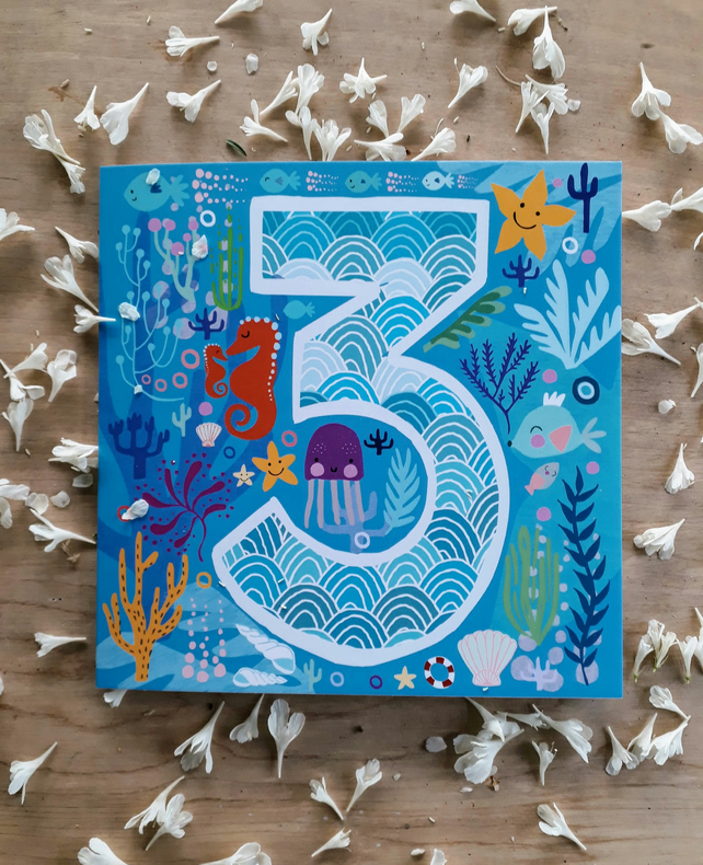 Greetings card (blank inside)  3 Three- Sea! Childrens Birthday