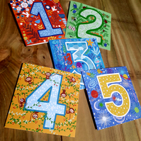 1,2,3,4 and 5 years birthday bundle (square cards)