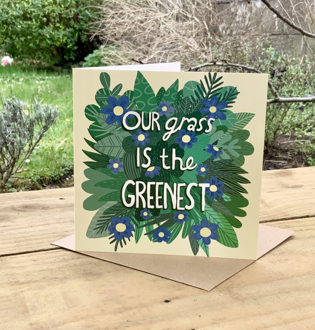 Square card'The Greenest Grass' for Valentines, anniversary, family