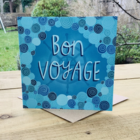 Bon Voyage- square card for travel, adventure, new job, gap year