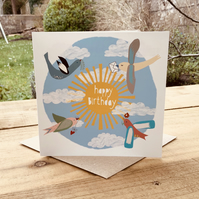 'Birthday Birds' Square card