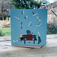 Feeding the Birds- Square Card