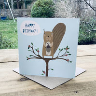 Greetings card (blank inside) 'Squirrel' for birthday