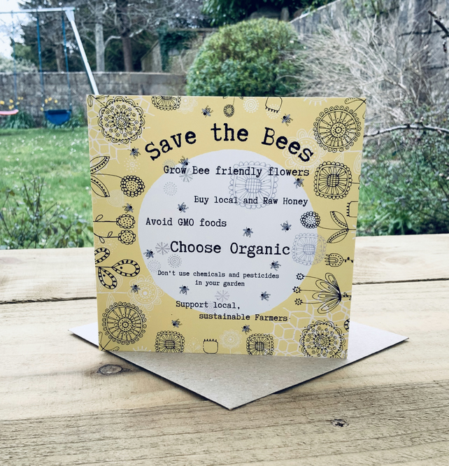 Save the Bees- square card