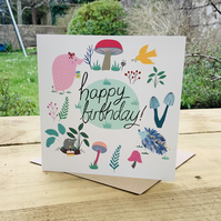 Greetings card (blank inside) 'Woodland Birthday'