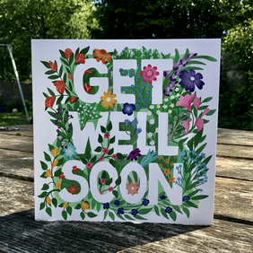 Get Well Soon- square card for sympathy, illness, well wishes
