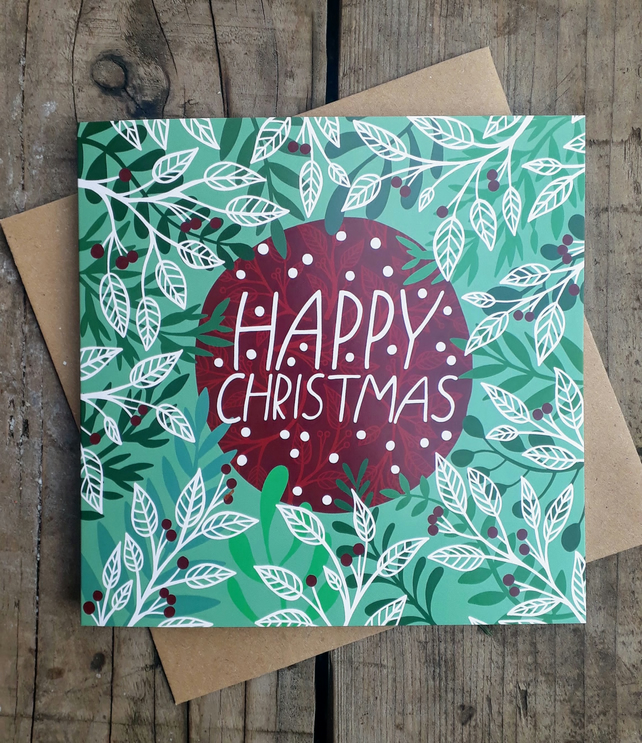 Square card- Christmas Evergreen