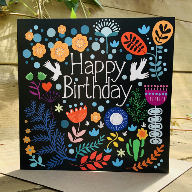 Folk Birthday- Square Card