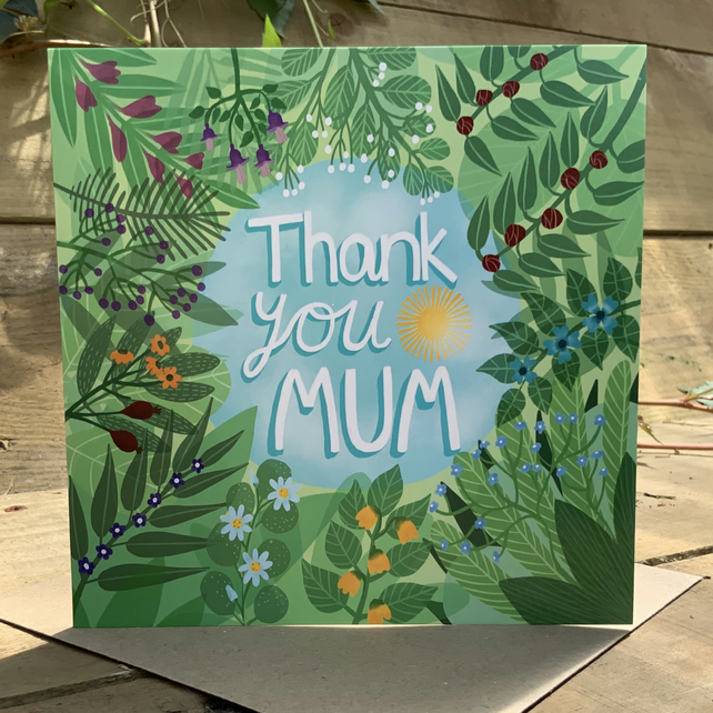 Thank You Mum, square card for Mother's Day