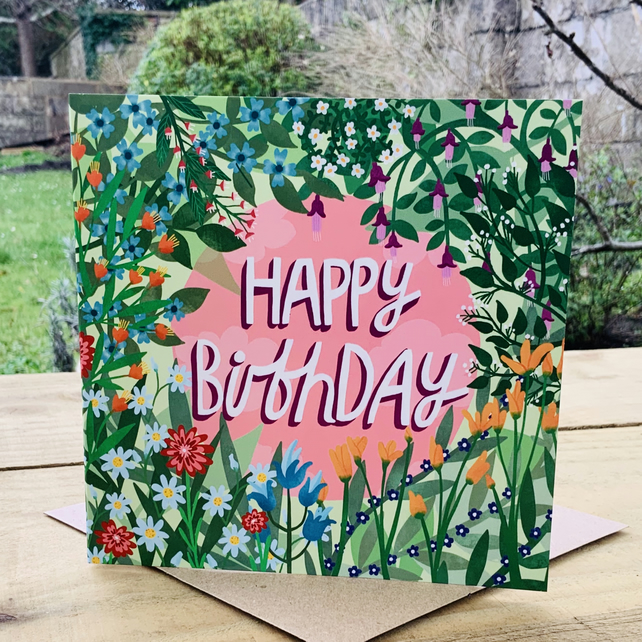Happy Birthday Flowers- square card for birthday