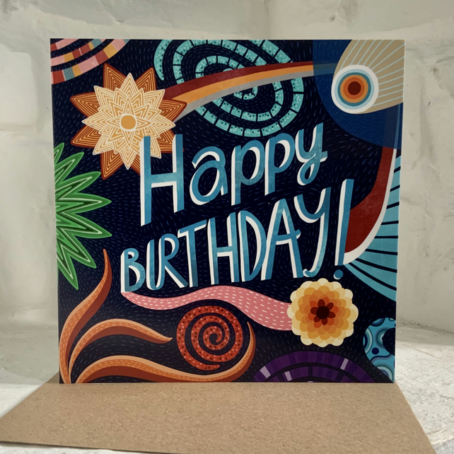 Square card- Birthday Fireworks