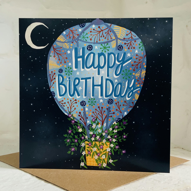 Square card 'Birthday Balloon' for birthdays