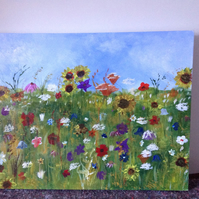 Acrylic painting meadow field.