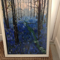 Acrylic painting bluebell wood