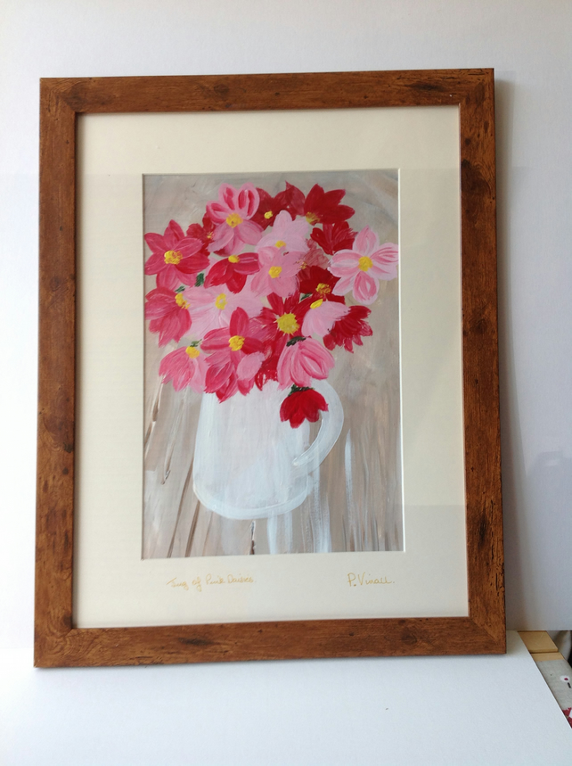 acrylic painting white jug and pink daisies