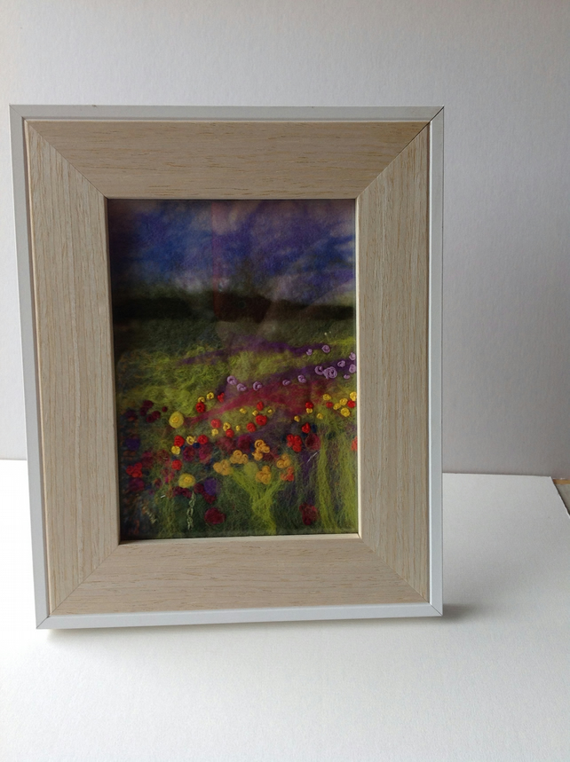 Felt picture field  of flowers