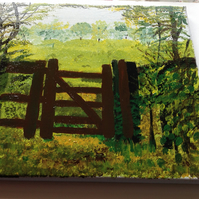 Acrylic painting through the gate.