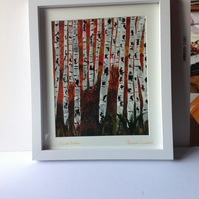 Acrylic painting silver birches
