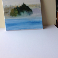 Acrylic painting island in the mist