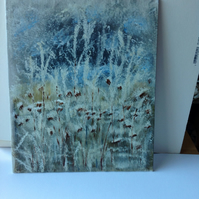 Acrylic painting grasses in the frost