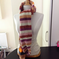 Hand knitted pure wool long scarf.