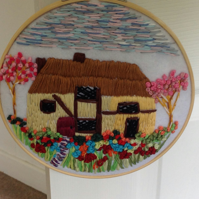 Thatched cottage and garden hoop art