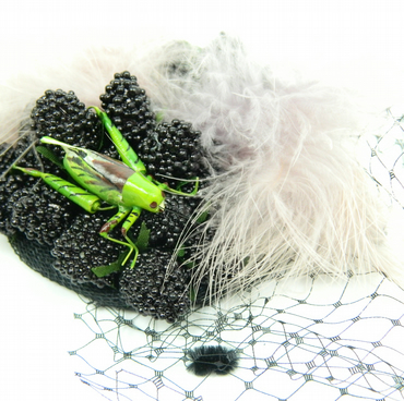 Lilac, Green and Black Veiled Cocktail Hat Fascinator