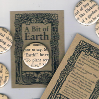 UPCYCLED BADGE for Earth Day, Secret Garden book pages, eco-friendly