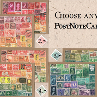 CHOOSE ANY 4 COLLAGE NOTECARDS, mixed card set - Postage Stamp Print