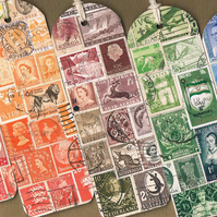 Custom Colour Bookmark - Upcycled Postage Stamp Collage, Made to Order Mail Art