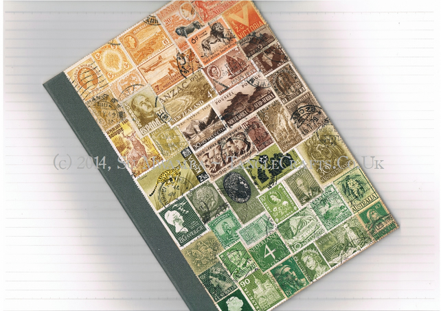 OOAK Autumn Collaged Notebook, Medium - upcycled vintage world postage stamps