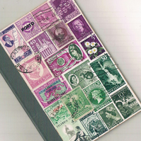 Heather, A6 Notebook - upcycled vintage world postage stamp collage, mail art